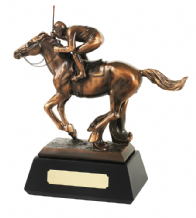 BRONZE PLATED HORSE AND JOCKEY FIGURE